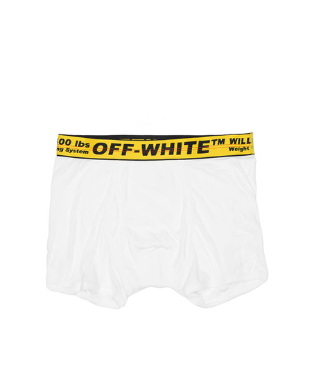Off-White Cotton Logo Boxer - White
