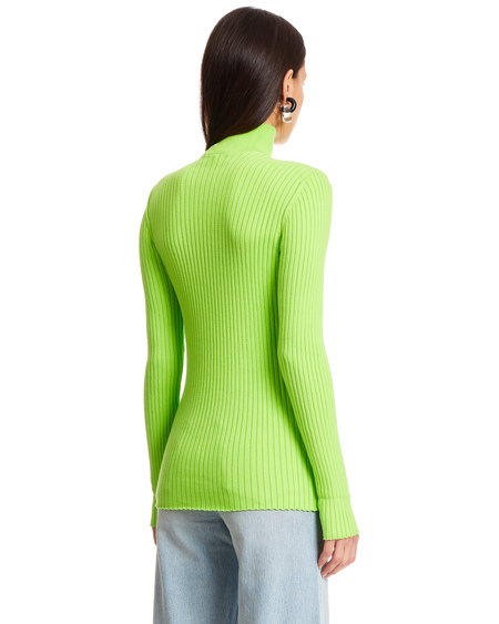 Courrèges High Neck Cotton Sweater - acid green
