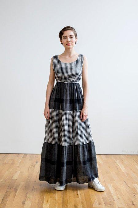 RUJUTA SHETH Gema Tier Dress - Black/White Chex