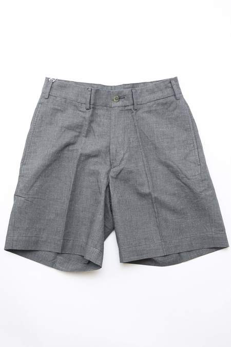 Beams Plus New Ivy Plain Front Shorts in Glen Check - CHARCOAL GREY
