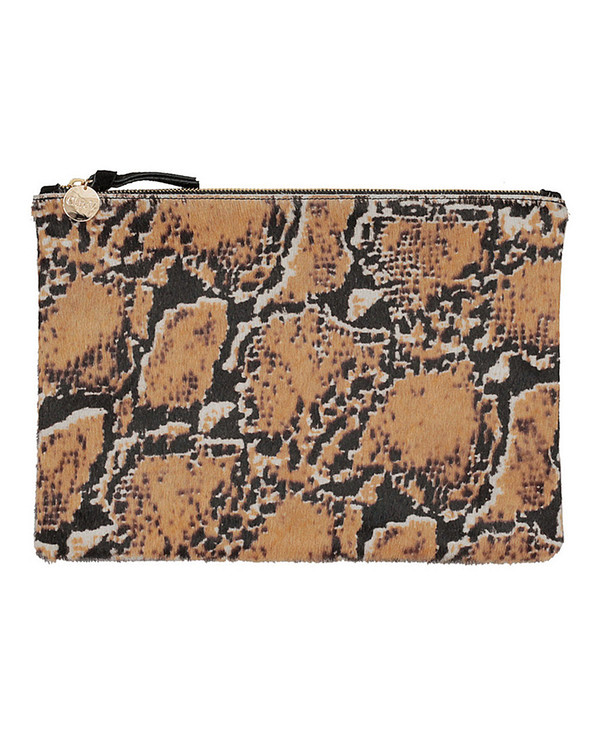Clare V. Flat Clutch In Snake Print Calf Hair