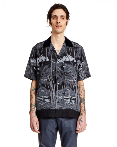 Sacai Tropical Shirt - Black Crepe