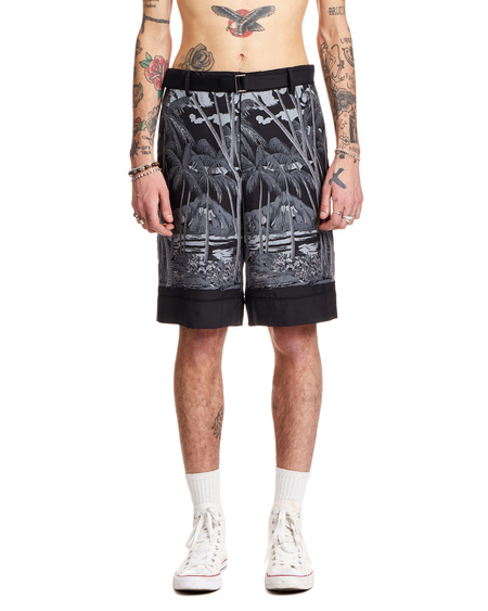 Sacai Tropical Bermuda - Black Crepe
