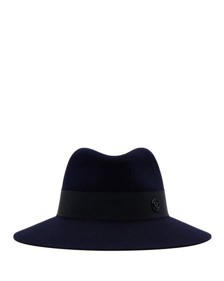 Maison Michel Wool Fedora Hat - Navy