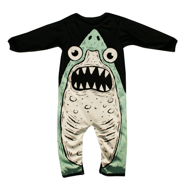 2d07621a7236 Kids  Electrik Kidz Organic Cotton Shark Onesie