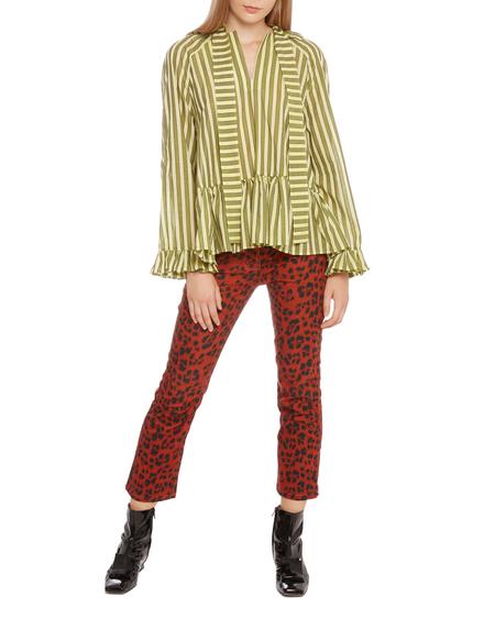 Sofie Sol Studio Striped Cotton Shirt - yellow/green