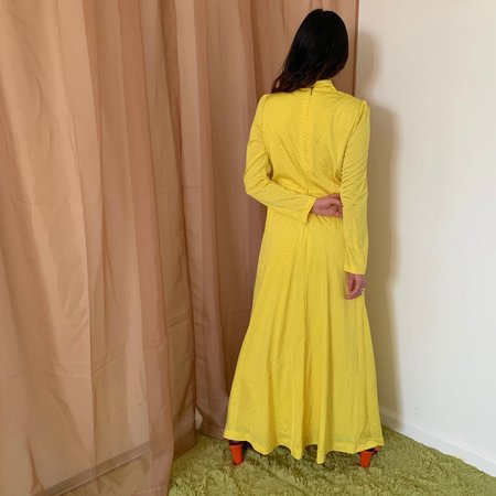 Vintage Kintsugi Polka Dot Dress - Yellow