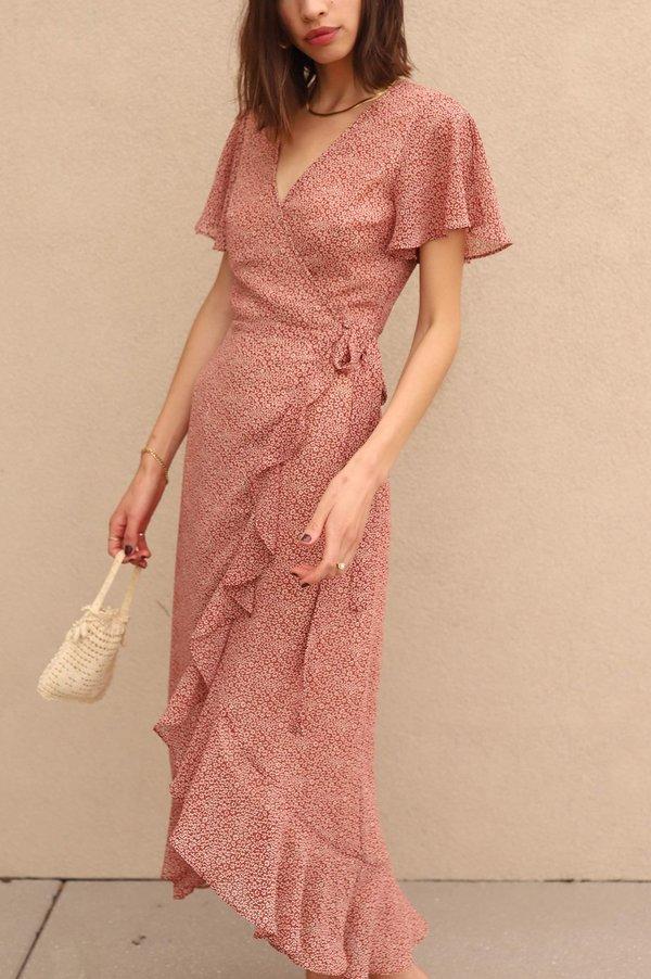 Cotton Candy LA Ruffle Wrap Dress - Red Floral