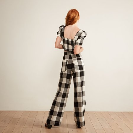 THE ODELLS Sydney Button Pant - Windowpane Plaid