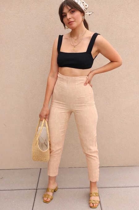 Vintage Brocade Super High Rise Pants - Blush