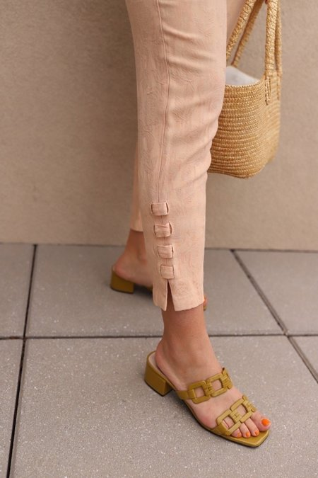 Vintage Brocade Super High Rise Pants - Blush