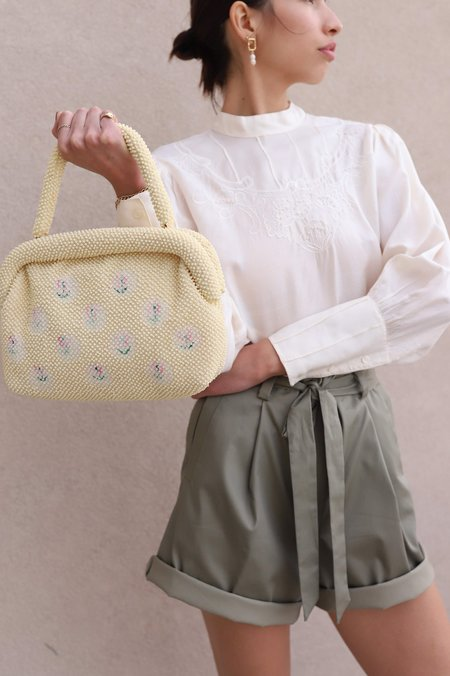 Vintage Beaded Handbag - Cream