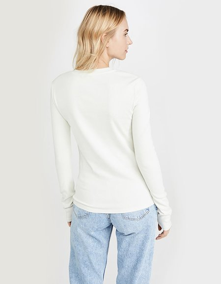 AGOLDE Long Sleeve Crew Neck Ribbed Tee - Plaster