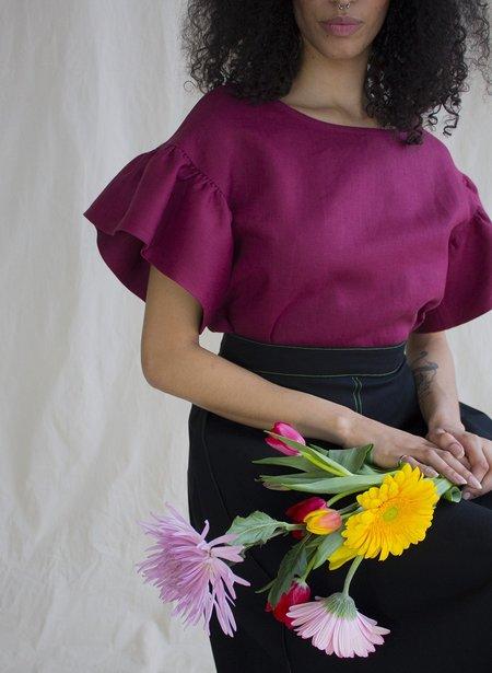 Eliza Faulkner Linen 'Raffi' Tee - Burgundy