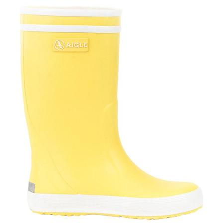 Kids Aigle Lolly Pop Rubber Boots - Jaune Yellow/White