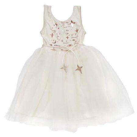 Kids Atsuyo Et Akiko Amulet Dress With Rose Gold Foil - White