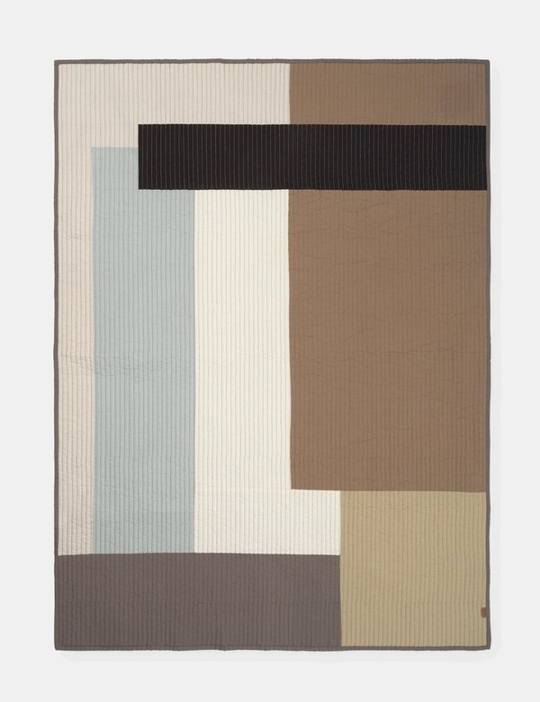 Ferm Living Shay Patchwork Quilt Desert Blanket - Beige