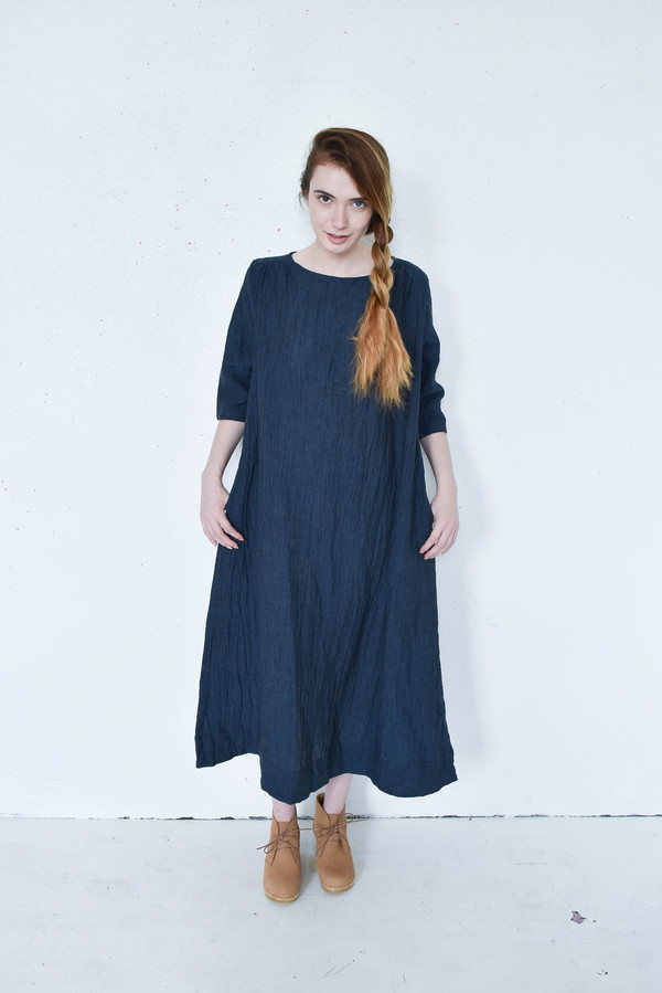 Sunja Link Back Yoke Dress in Navy