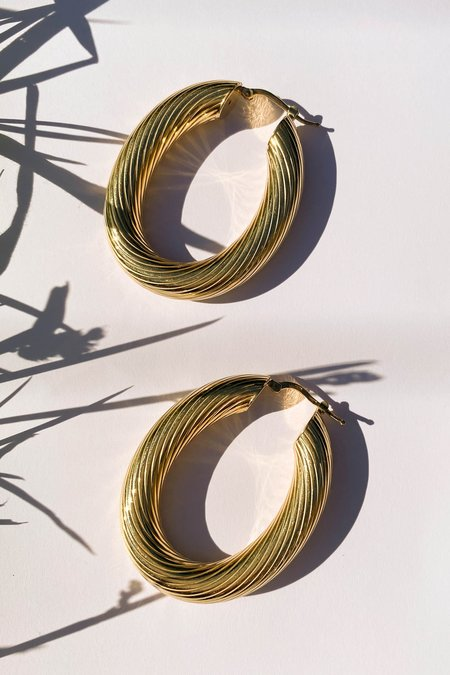 WOLF & GYPSY Large Gold Plated Silver Twisted Oval Hoops