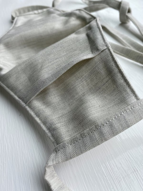Tony Shirtmakers Japanese Flax Herringbone Face Mask - Oatmeal