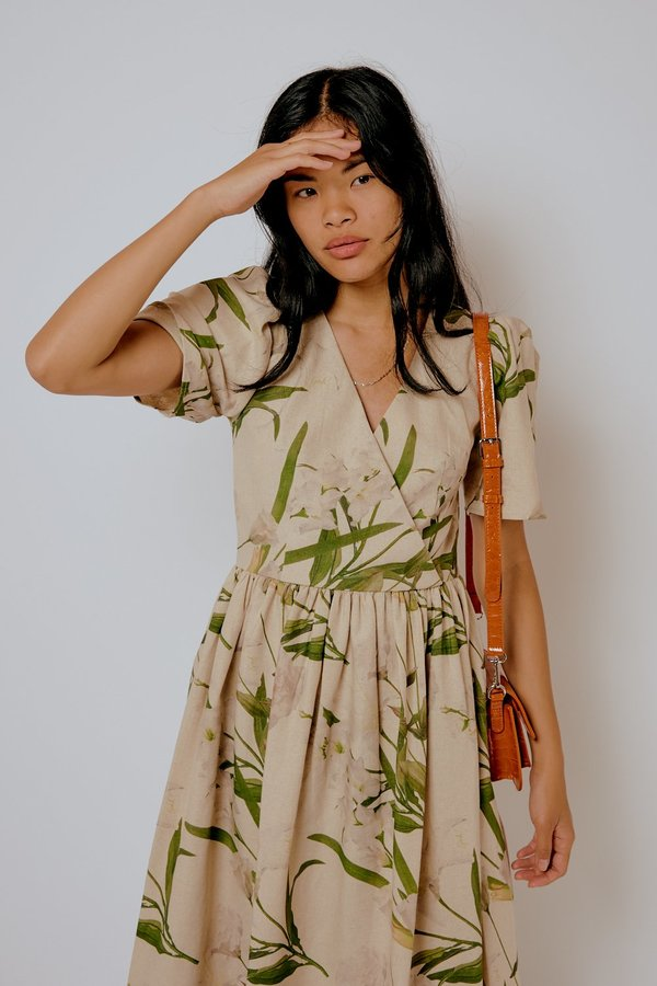 Lisa Says Gah Topanga Midi Dress - Floral Linen Cotton