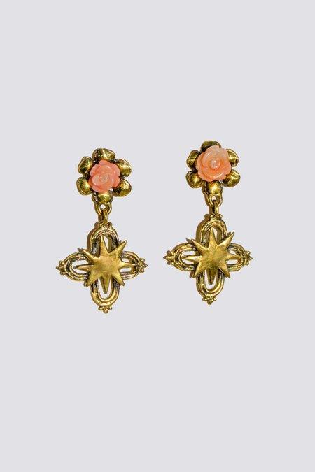 Mondo Mondo Rose Cross Earrings - Brass