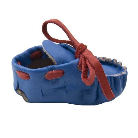 Kids Manimal Moccasins Booties - Cobalt Blue/Red Laces