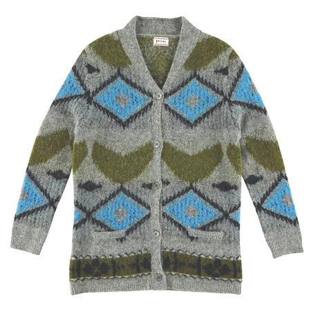 Kids Morley Ibia Cardigan - Royal Grey Pattern
