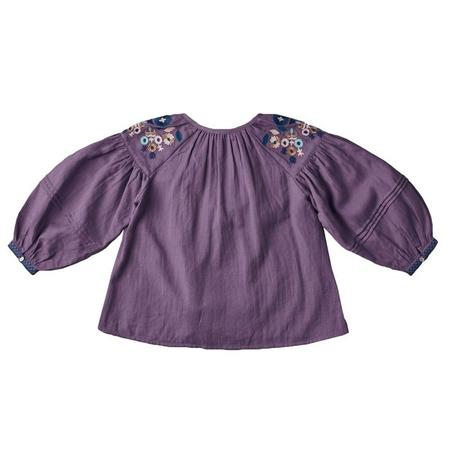 Kids Nellystella Hellena Long Sleeved Blouse With Embroidery - Pewter Purple