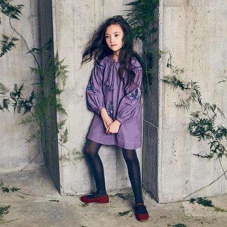 Kids Nellystella Laliya Long Sleeved Dress With Embroidery - Pewter Purple