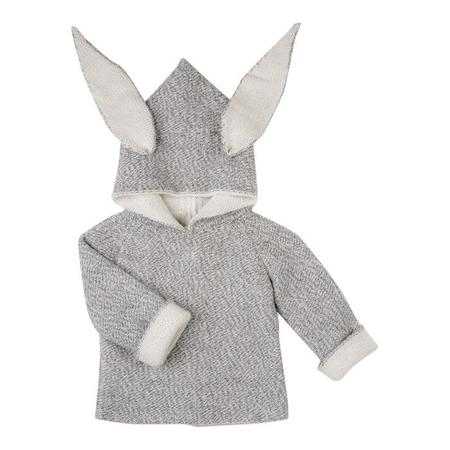 Kids Oeuf NYC Animal Hoodie Rabbit - Grey
