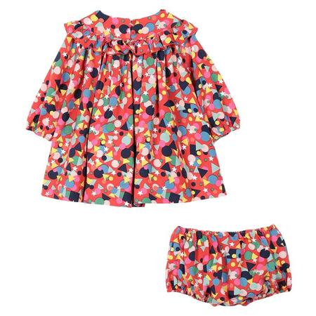Kids Stella McCartney Dress With Bloomers - Red/Multicolour Shapes Print