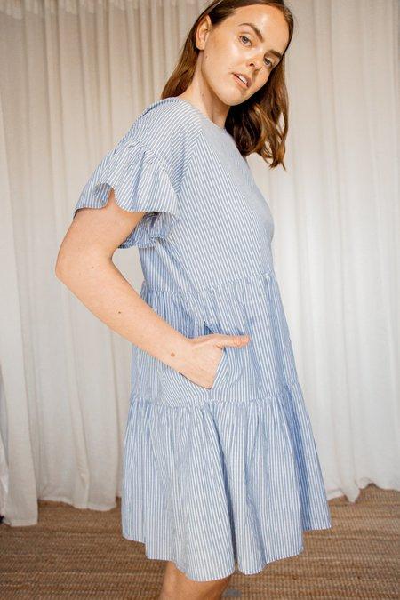 2NDDAY Loretta Dress - Navy Blue Pin Stripe
