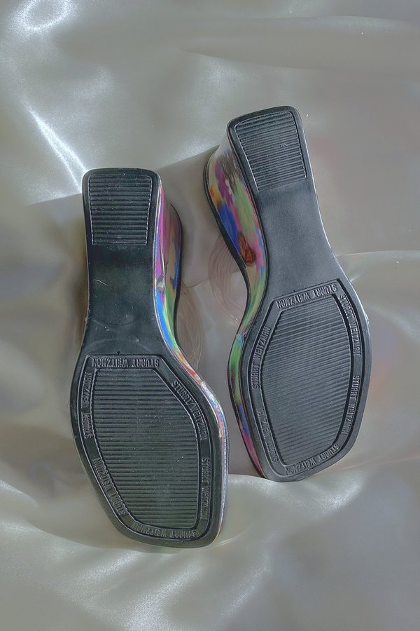 Vintage Stuart Weitzman Strappy Butterfly Wedge Sandals - Holographic Bloom
