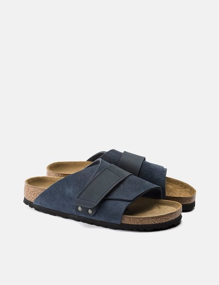 Birkenstock Kyoto Nubuck Suede Leather Narrow Footbed Slide - Navy Blue