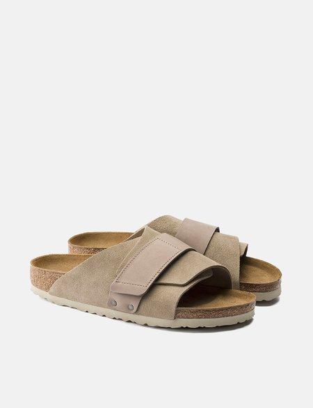Birkenstock Kyoto Nubuck/Suede Leather Narrow Footbed Sandals - Beige