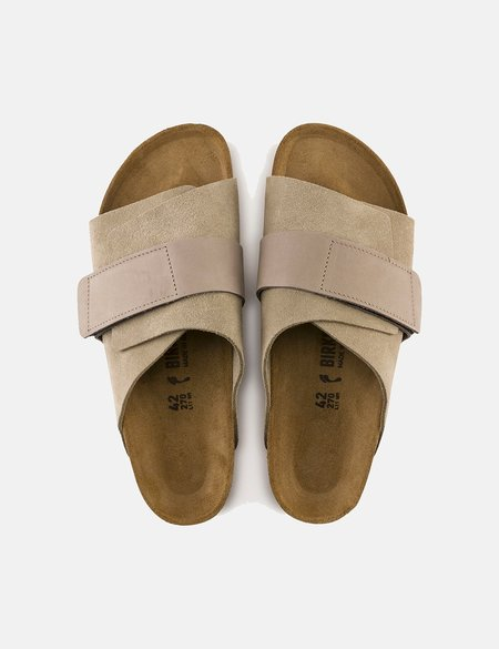 Birkenstock Kyoto Nubuck/Suede Leather Narrow Footbed Sandals - Beige