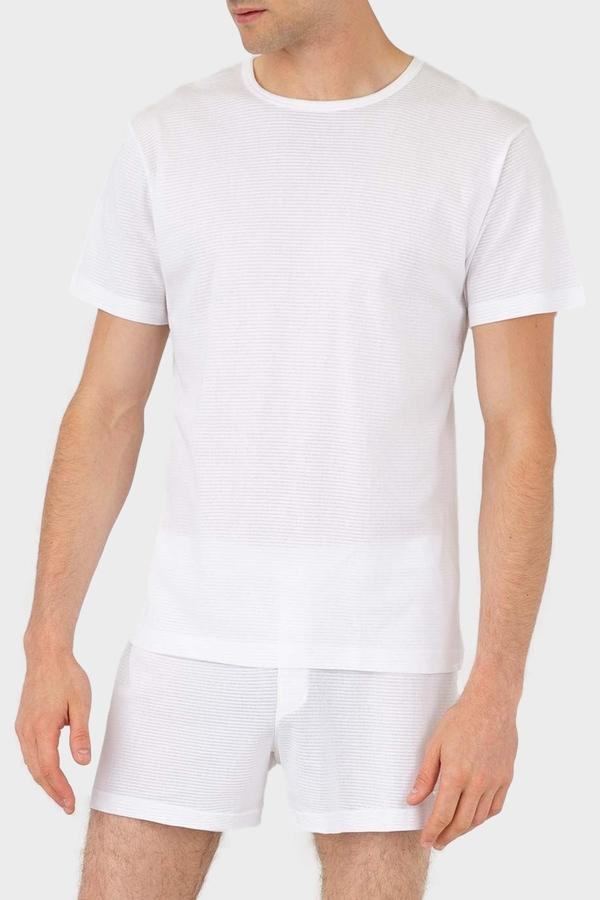 Sunspel Cellular Cotton Crew Neck T Shirt