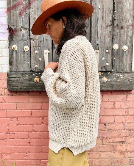 Micaela Greg Waffle Sweater - Salt