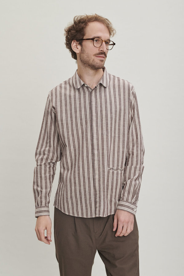 Delikatessen Striped Cotton Round Collar Shirt