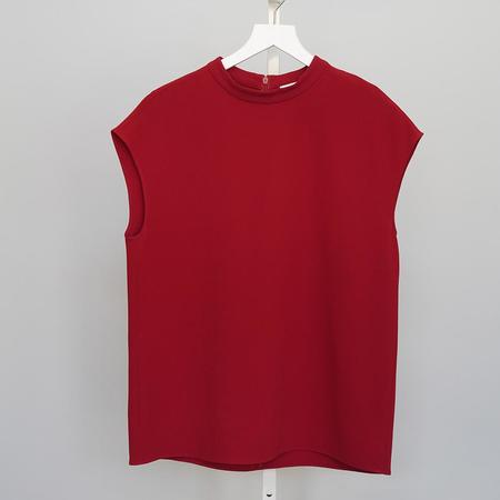 Tibi Mockneck Sleeveless Top - Brick