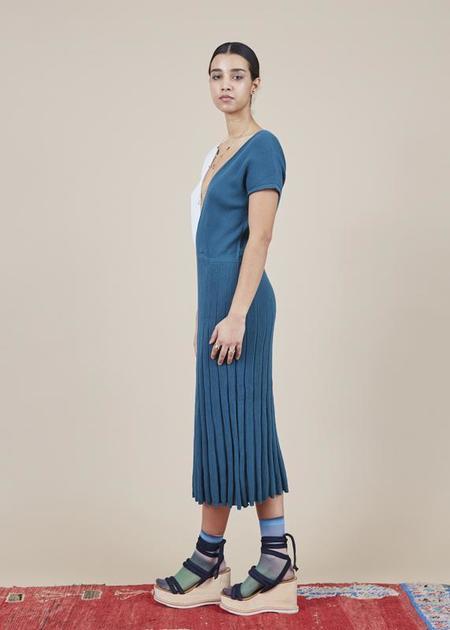 Sartoria Vico Colorblock Mini Pleat Dress - Pretrol/Ice
