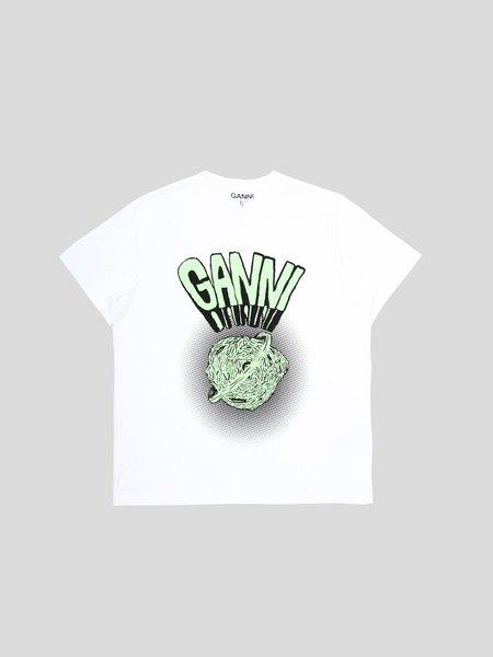 Ganni Basic Cotton Jersey T Shirt - White