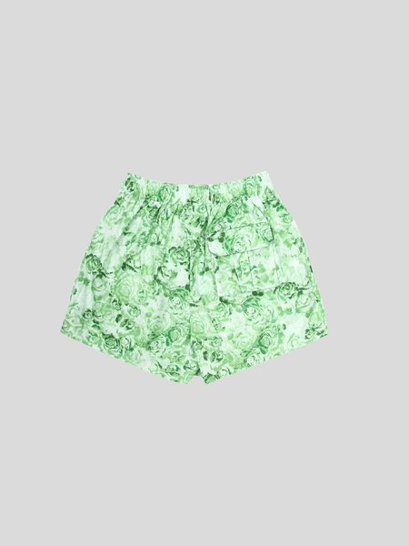 Ganni Printed Cotton Poplin Shorts - Island Green