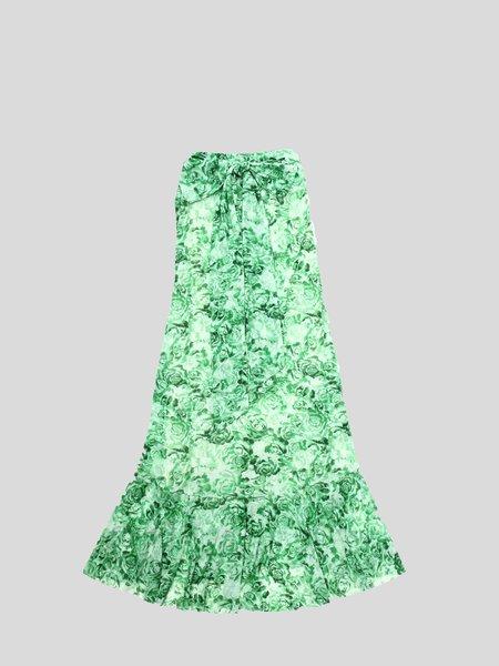 Ganni Printed Mesh Maxi Skirt - Island Green