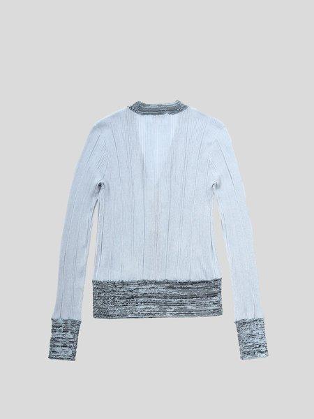 Ganni Thin Cotton Rib Cardigan - Brunnera Blue