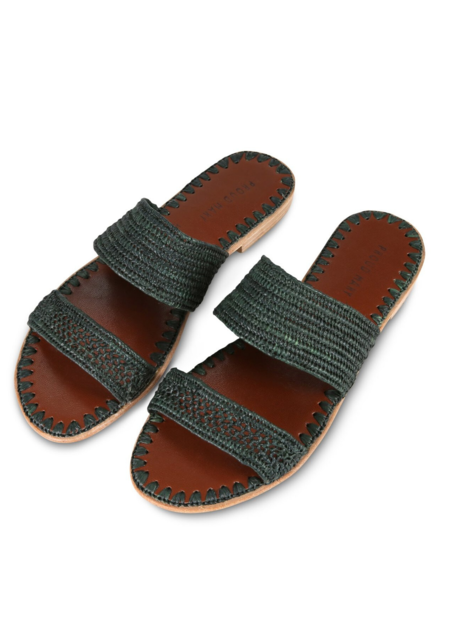 Proud Mary Raffia two-strap slide - forest