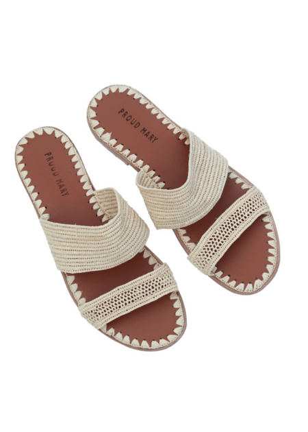 Proud Mary Raffia Two-strap Slide - Natural