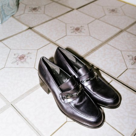 [pre-loved] Evan Picone Iridescent Loafers - Navy