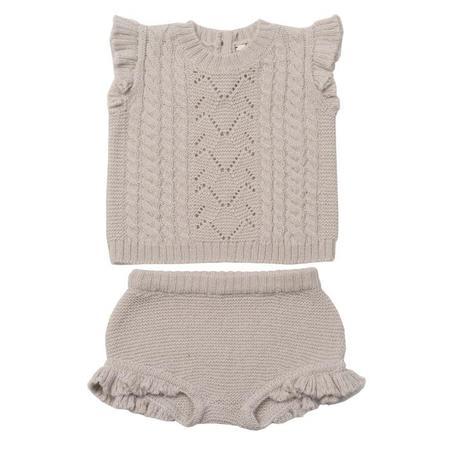 Kids Bonton Two Piece Short Sleeved Shirt And Bloomers Set - Mastic Grey